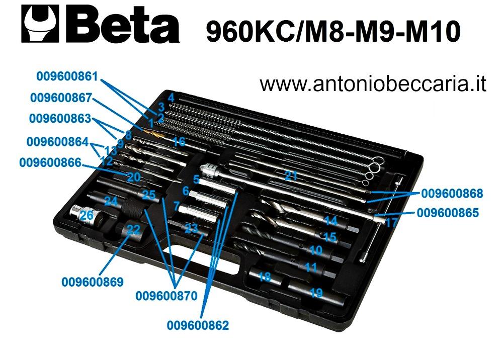 009600801 960KC-M8-M9-M10 ricambi assortimento di utensili per la rimozione delle candelette di preriscaldamento spezzate o danneggiate 1